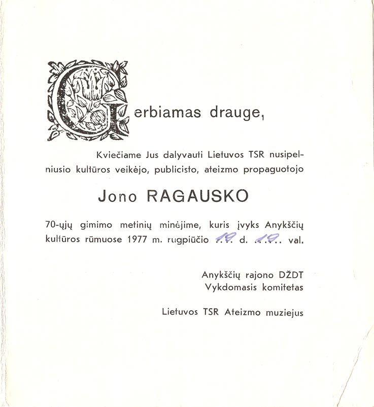 Lietuvos TSR nusipelniusio kultūros veikėjo, publicisto, ateizmo propaguotojo Jono Ragausko 70- ųjų gimimo metinių minėjimas