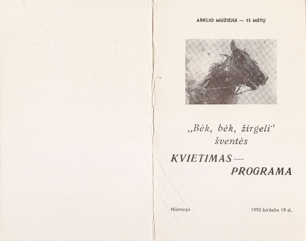 """16-oji Respublikinė tradicinės kultūros ir žirgų sporto šventė """"Bėk bėk, žirgeli!"""" (1993)"""