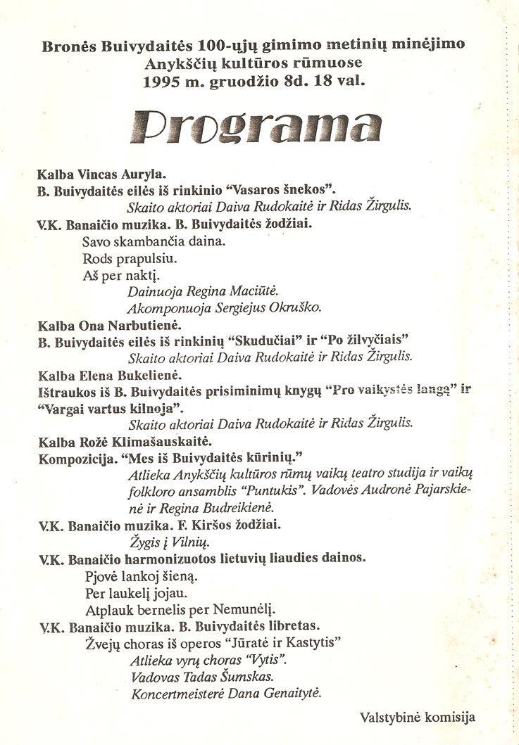 Bronės Buivydaitės 100- ųjų gimimo metinių minėjimo Anykščių kultūros rūmuose