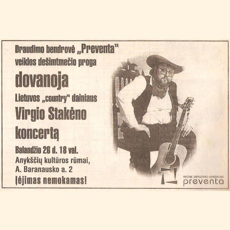 """Lietuvos """"country"""" dainiaus Virgio Stakėno koncertas"""