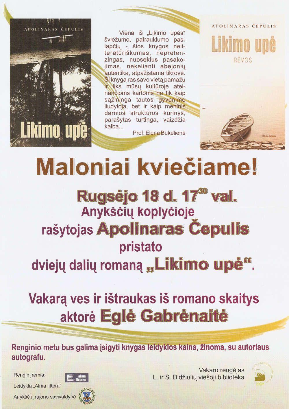 """Rašytojas Apolinaras Čepulis pristato dviejų dalių romaną """"Likimo upė"""""""