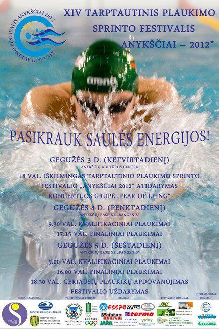 """XIV Tarptautinis plaukimo sprinto festivalis """"Anykščiai - 2012"""" - Antroji diena"""