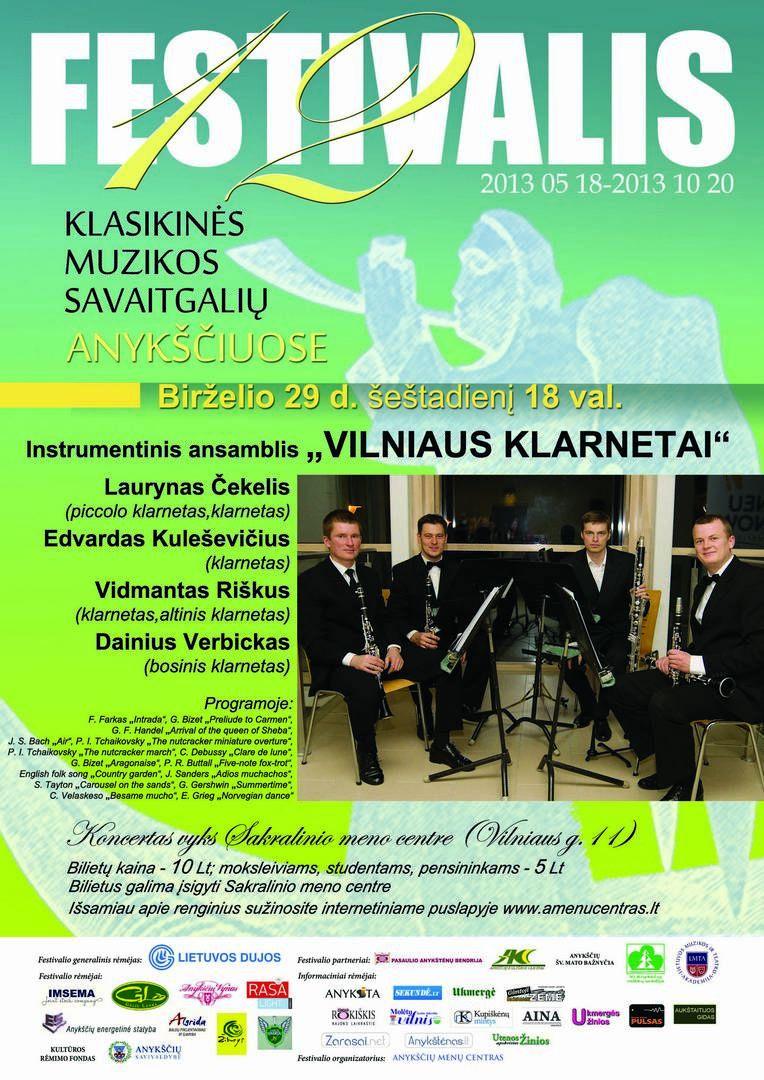 """Festivalis """"Muzikos savaitgaliai Anykščiuose"""" (2013) - Instrumentinis ansamblis """"Vilniaus klarnetai"""""""