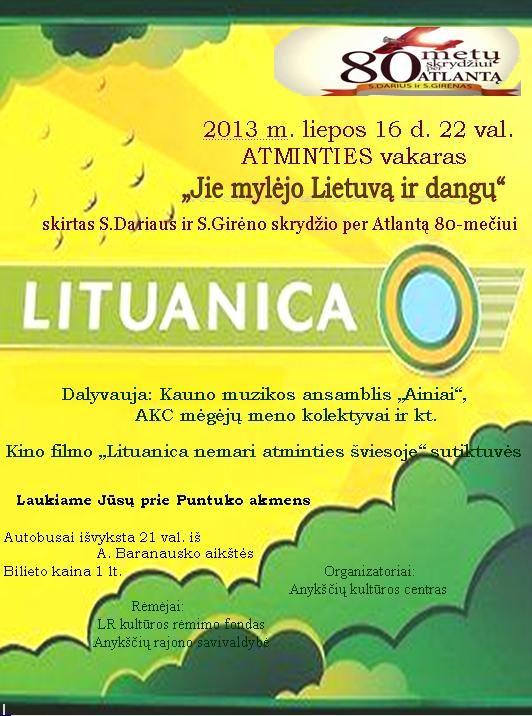 "Vakaras ""Jie mylėjo Lietuvą ir dangų"""