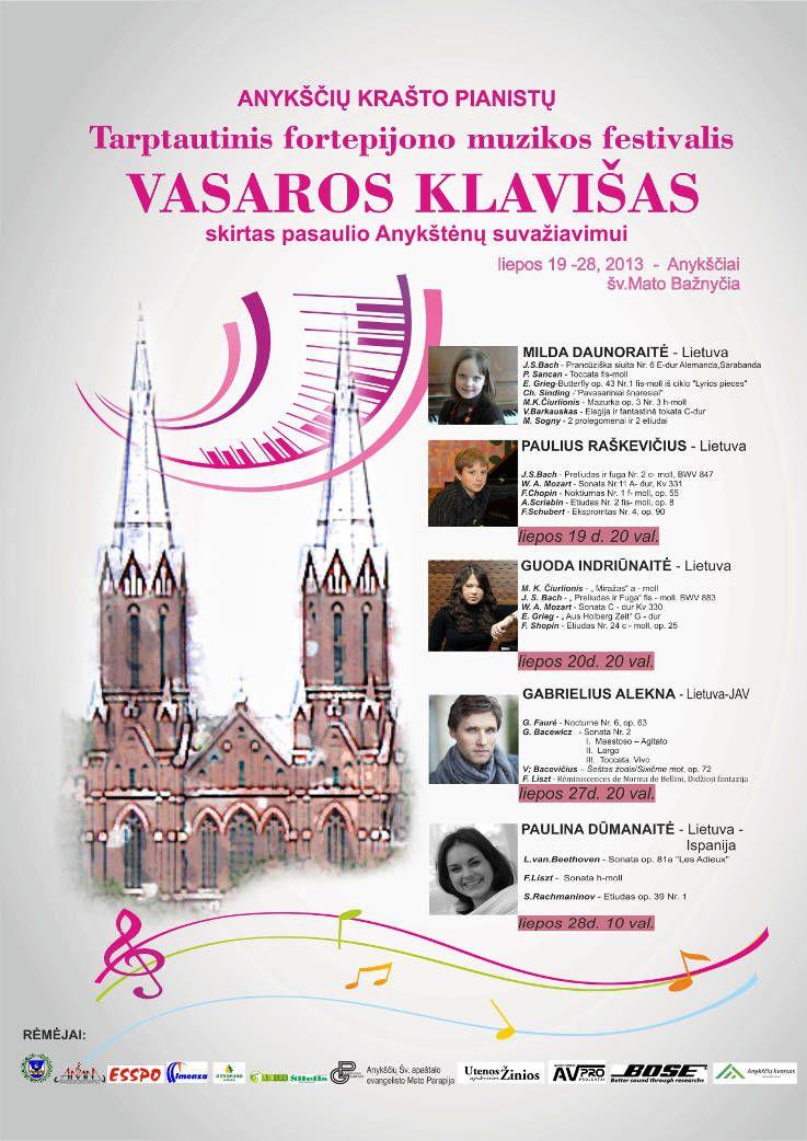 """Anykščių miesto šventė (2013) - """"Buvom, esam. BŪSMA!"""" - """"VASAROS KLAVIŠAS"""" - Koncertuoja pianistas Gabrielius Alekna"""