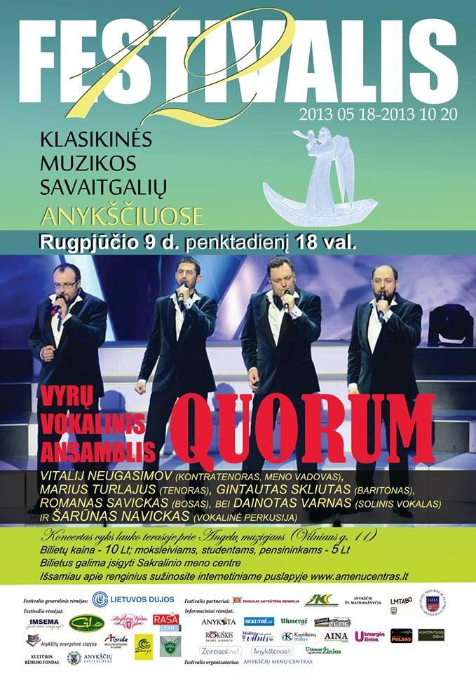 """Festivalis """"Muzikos savaitgaliai Anykščiuose"""" (2013) - Vyrų vokalinis ansamblis """"Quorum"""""""