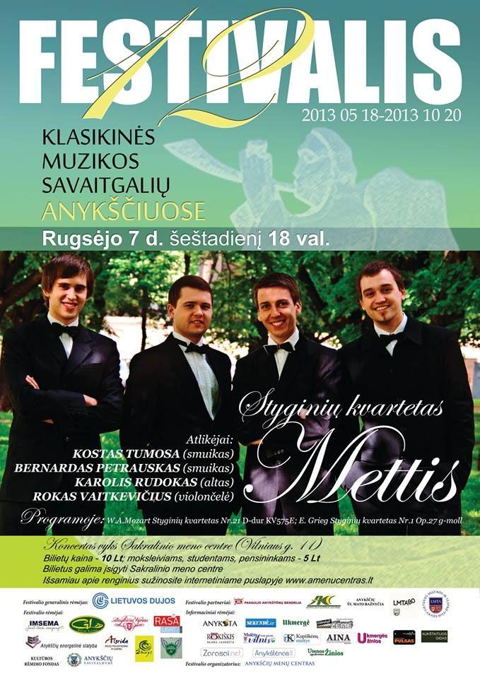 """Festivalis """"Muzikos savaitgaliai Anykščiuose"""" (2013) - Styginių kvartetas """"Mettis"""""""