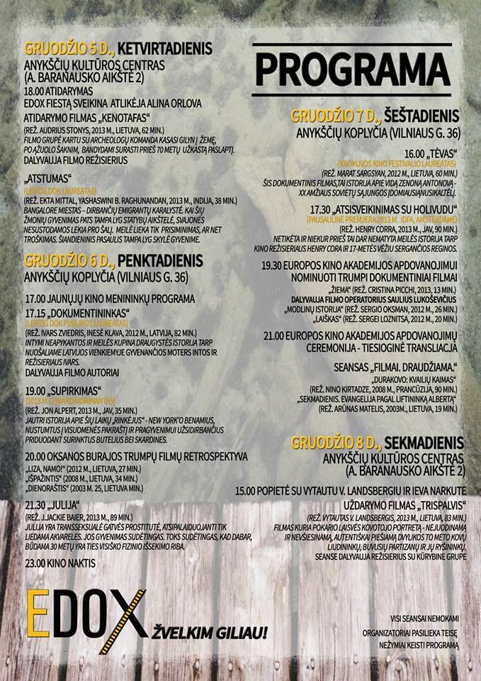 """Dokumentinių filmų festivalis """"EDOX"""" (2013) - Jaunųjų kino menininkų programa"""