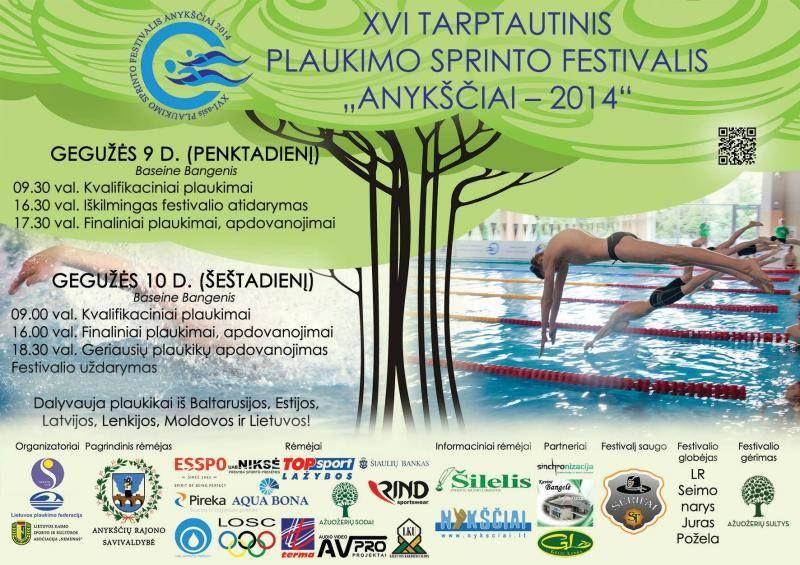 """XVI Tarptautinis plaukimo sprinto festivalis """"Anykščiai - 2014"""" - Antroji diena"""