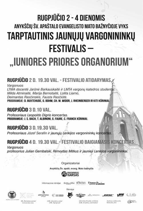 """Jaunųjų vargonininkų festivalis """"Juniores priores organorium"""" (2014) - Profesoriaus Józef Serafin ir jaunųjų Lenkijos vargonininkų koncertas"""