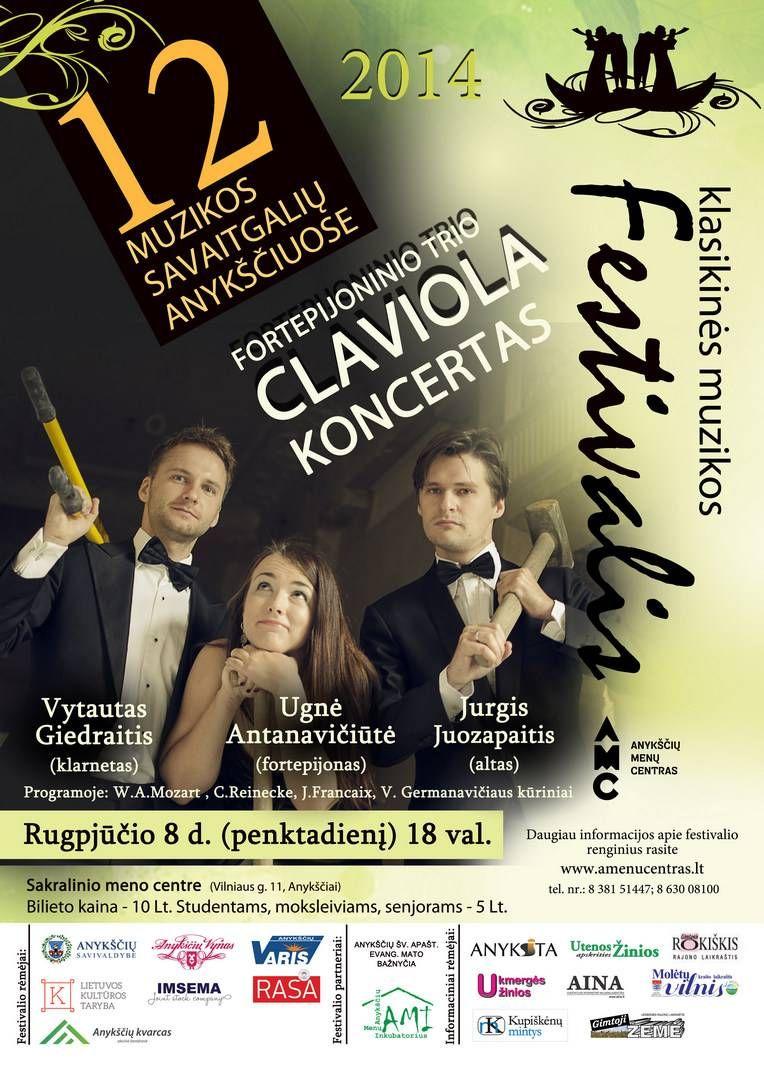 """Festivalis """"Muzikos savaitgaliai Anykščiuose"""" (2014) - Fortepijoninio trio """"Claviola"""" koncertas"""