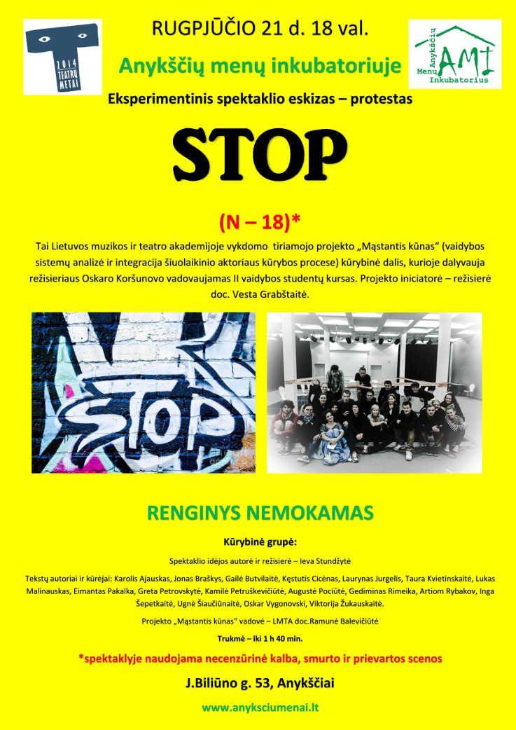 """Eksperimentinis spektaklio eskizas – protestas """"STOP"""""""