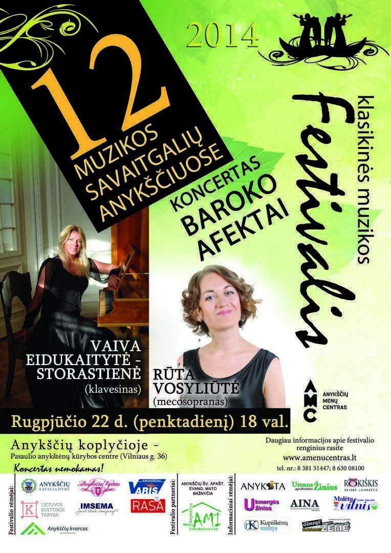 """Festivalis """"Muzikos savaitgaliai Anykščiuose"""" (2014) - Koncertas """"Baroko afektai"""""""