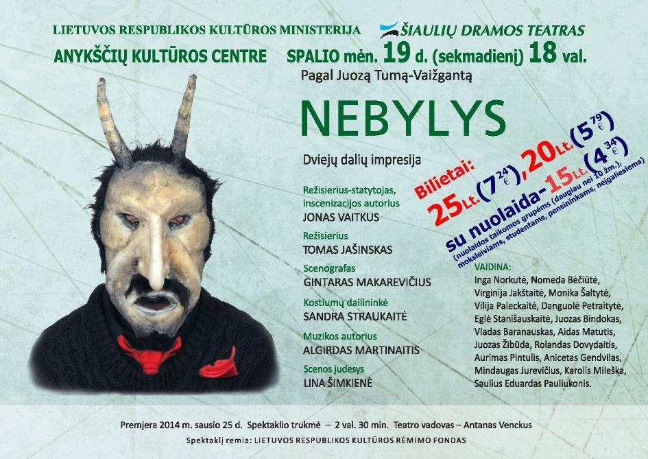 """Nacionalinės dramaturgijos festivalis """"Pakeleivingi″ (2014) - Jonas Vaitkus """"Nebylys"""""""