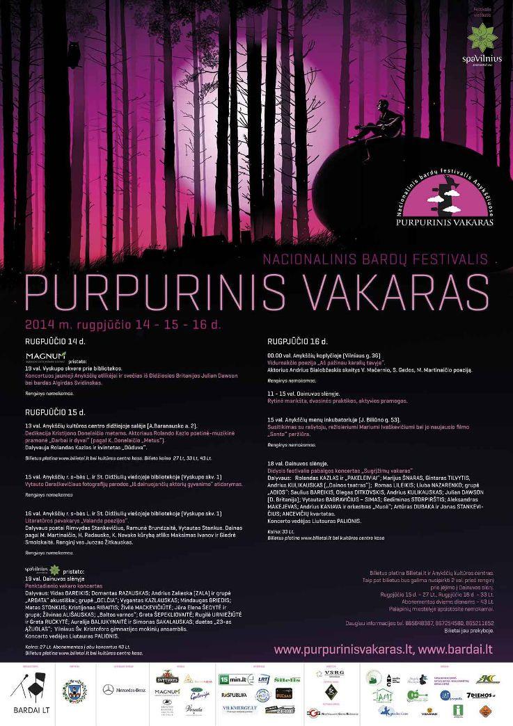 """Festivalis """"Purpurinis vakaras"""" (2014) - Literatūros pavakarys """"Valanda poezijos"""""""