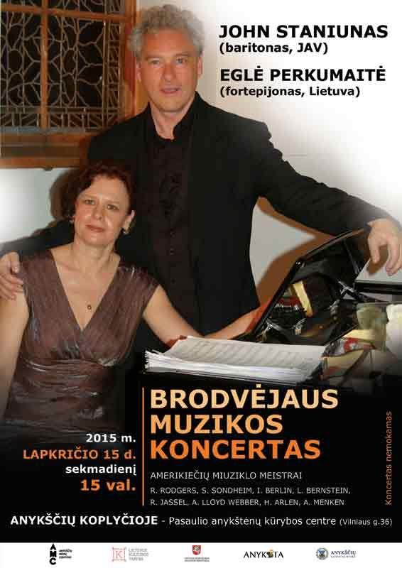 Brodvėjaus muzika, kurią atliks John Staniunas ir Eglė Perkumaitė