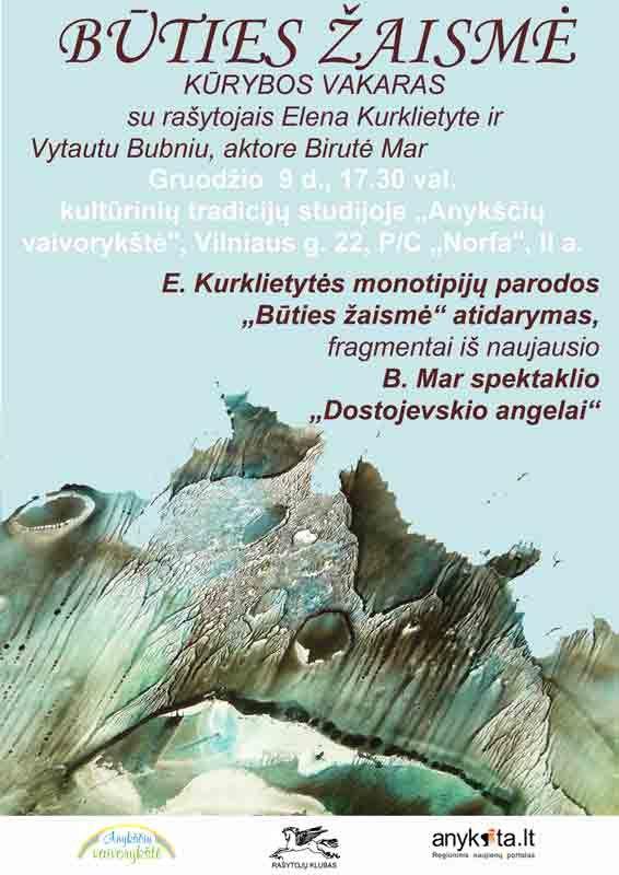 """""""Būties Žaismė"""" - Kūrybos vakaras su rašytojais E. Kurklietyte ir V. Bubniu, aktore Birutė Mar"""