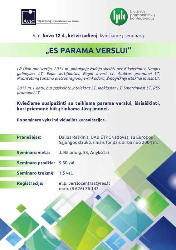 """Seminaras """"ES parama verslui"""""""