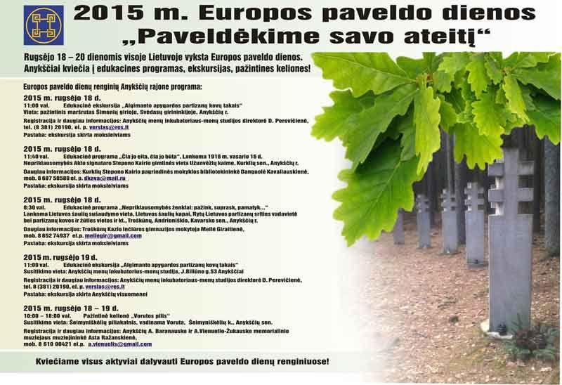 """2015 m. Europos paveldo dienos """"Paveldėkime savo ateitį"""""""