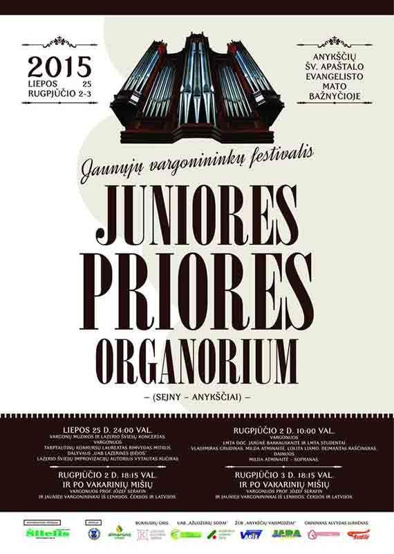 """Jaunųjų vargonininkų festivalis """"Juniores priores organorium"""" (2015) - Pirmoji diena"""