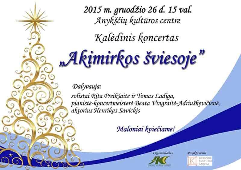"""Kalėdinis koncertas """"Akimirkos šviesoje"""""""