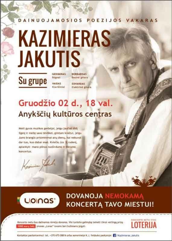Dainuojamosios poezijos vakaras. Kazimieras Jakutis su grupe.