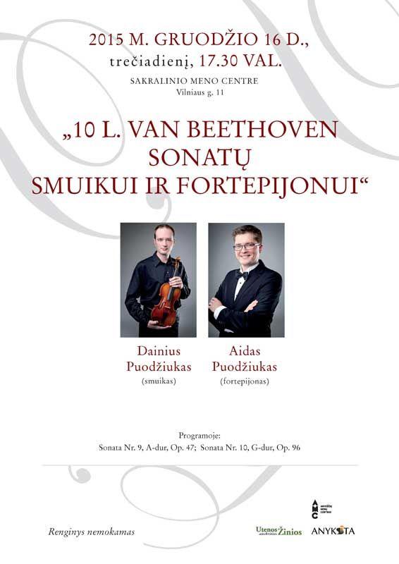 "Koncertas ""10 L. Van Beethoven sonatų smuikui ir fortepijonui"""