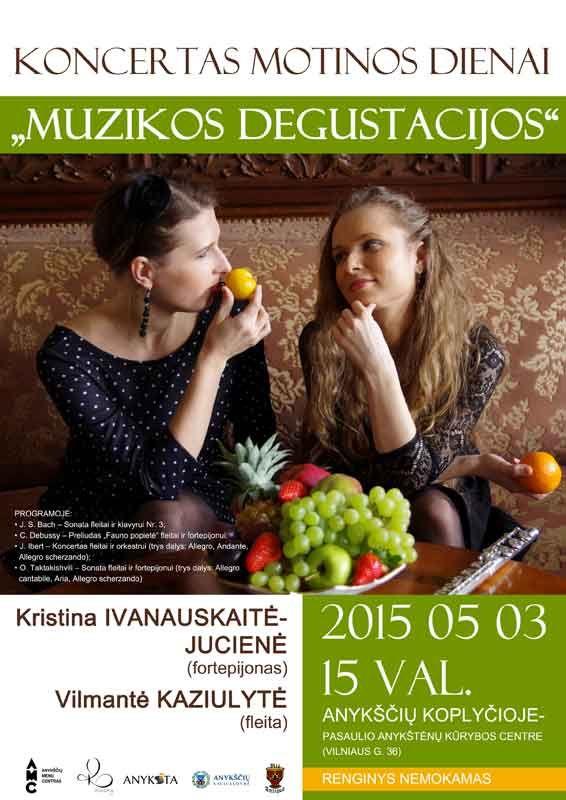 """Kviečiame į koncertą """"Muzikos degustacijos"""" skirtą Motinos dienai!"""
