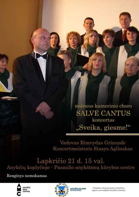 """Mišraus kamerinio choro """"Salve Cantus"""" koncertas """"Sveika, giesme!"""""""