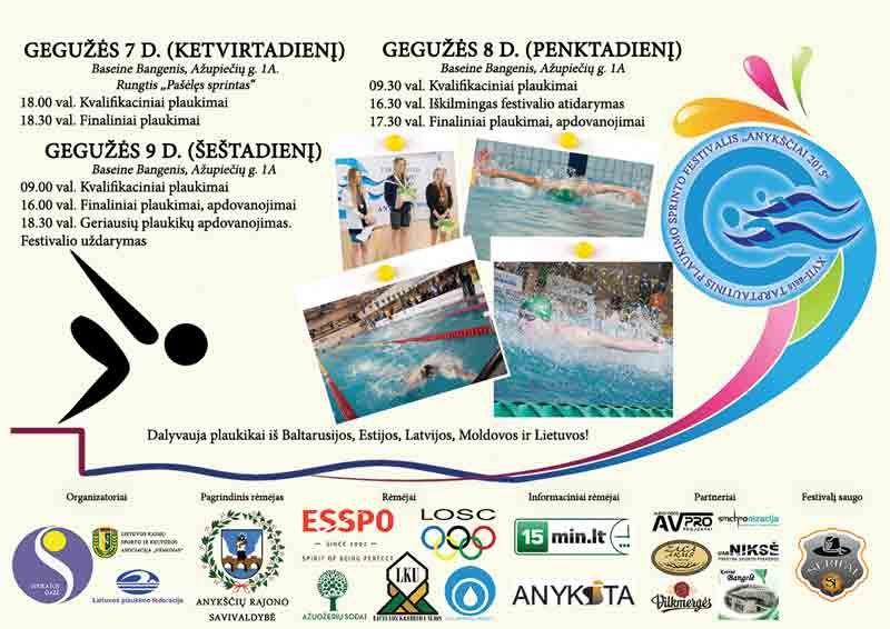"""Tarptautinis plaukimo sprinto festivalis """"Anykščiai 2015"""""""