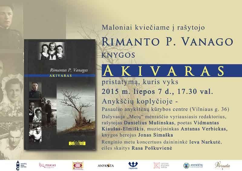 """Rimanto P. Vanago knygos """"Akivaras"""" pristatymas"""