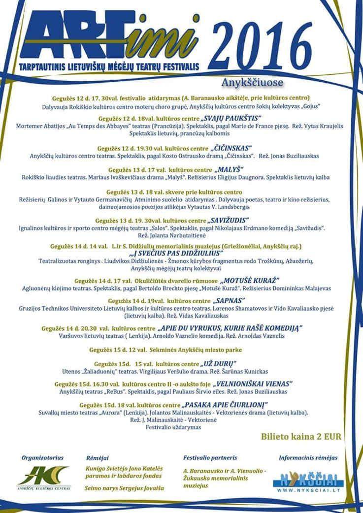 """Tarptautinis mėgėjų teatrų festivalis """"ARTimi"""" (2016) - Vidas Kavaliauskas """"Sapnas"""""""