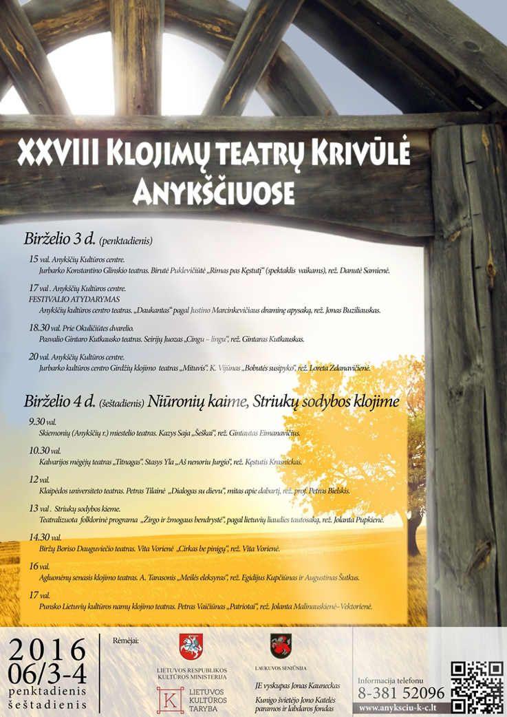 """XXVIII Lietuvos klojimų teatro šventė """"Krivūlė - 2016"""""""