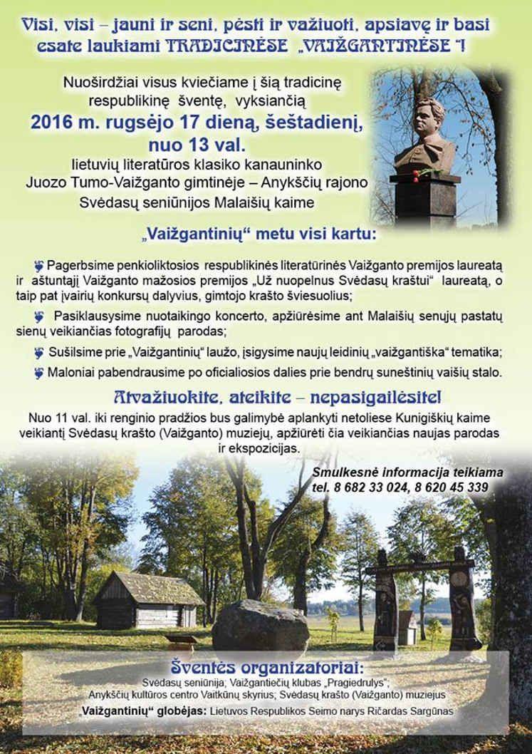 """Tradicinės """"Vaižgantinės"""" Malaišiuose (2016) / 15-osios Vaižganto premijos įteikimas rašytojui ir publicistui, kunigui Juliui Sasnauskui"""