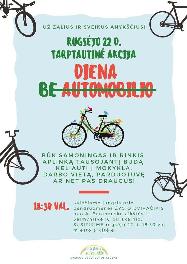Bendruomenės žygis dviračiais - už sveikus ir žalius Anykščius