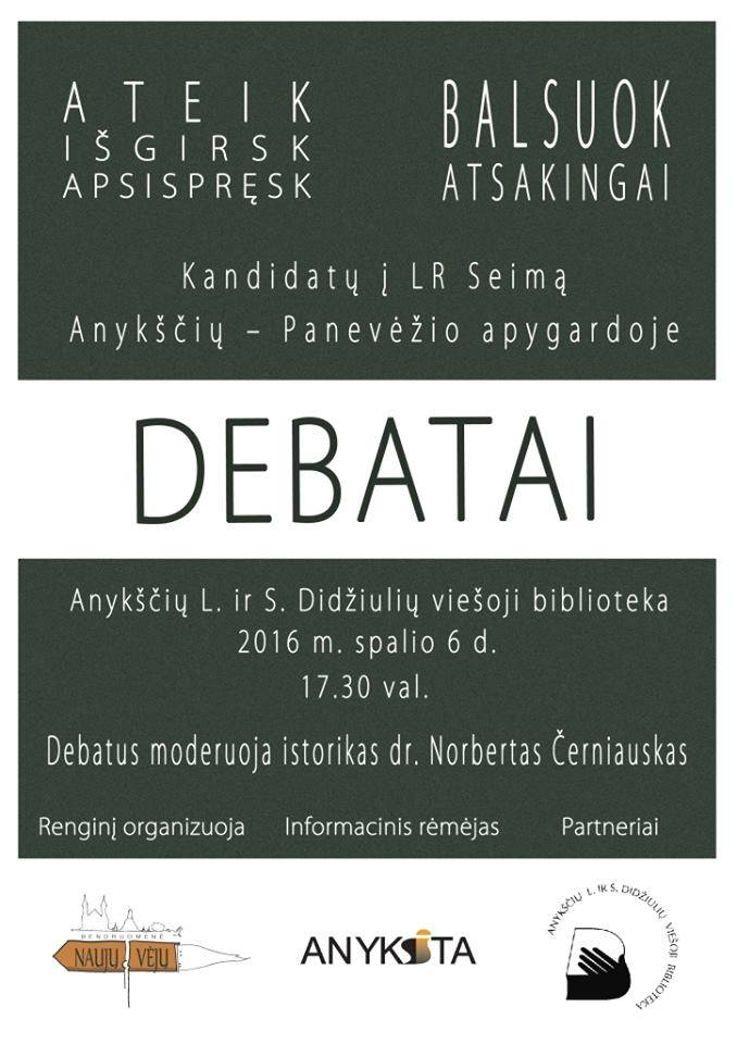 Kandidatų į Lietuvos Respublikos Seimą Anykščių - Panevėžio apygardoje debatai