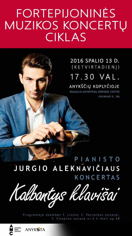 """Pianisto Jurgio Aleknavičiaus koncertas """"Kalbantys klavišai"""""""