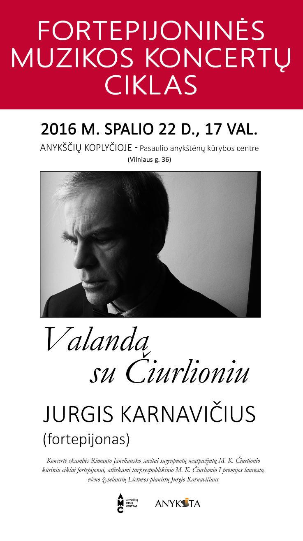 """Pianisto Jurgio Karnavičiaus koncertas """"Valanda su Čiurlioniu"""""""