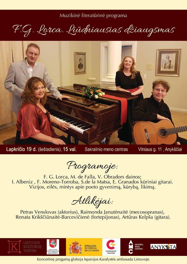 """Muzikinė - literatūrinė programa """"F. G. Lorca. Liūdniausias džiaugsmas"""""""