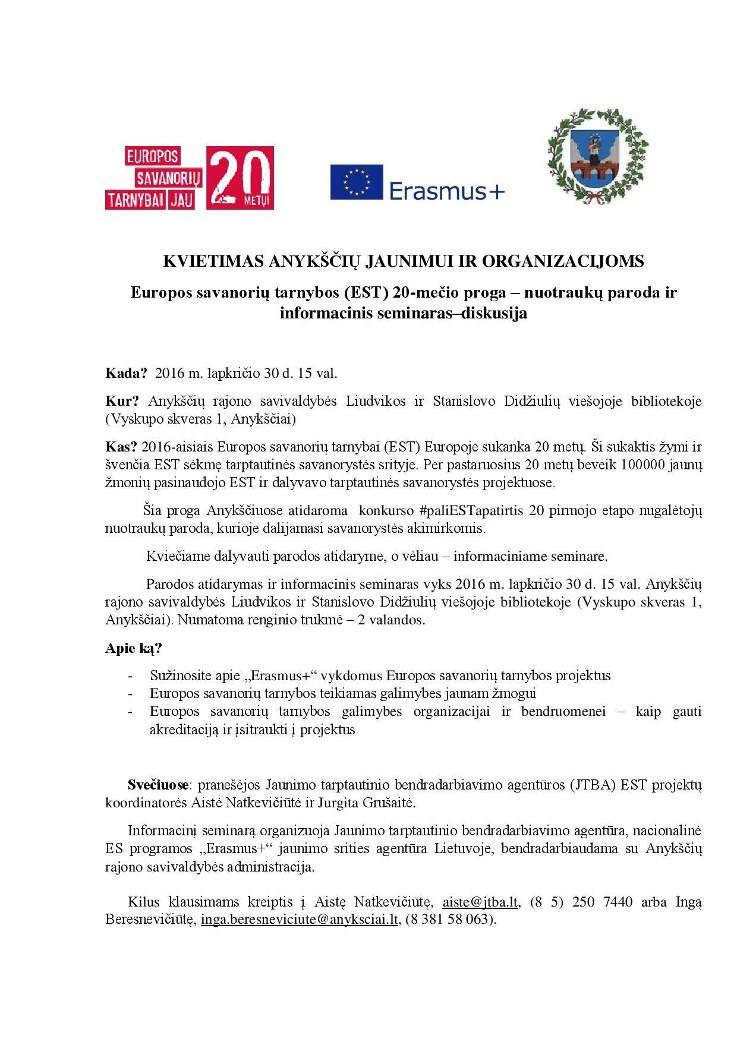 Europos savanorių tarnybos (EST) 20-mečio progai skirtas renginys
