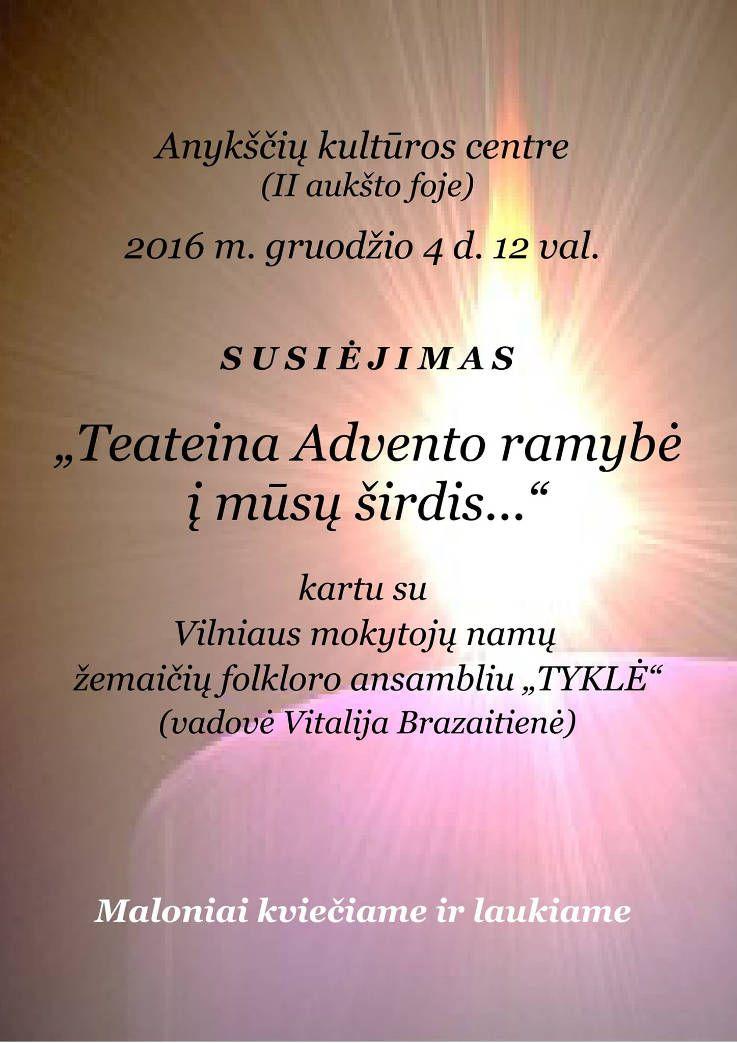 """Adventinis pasibuvimas su Vilniaus mokytojų namų žemaičių folkloro ansambliu """"Tyklė"""""""
