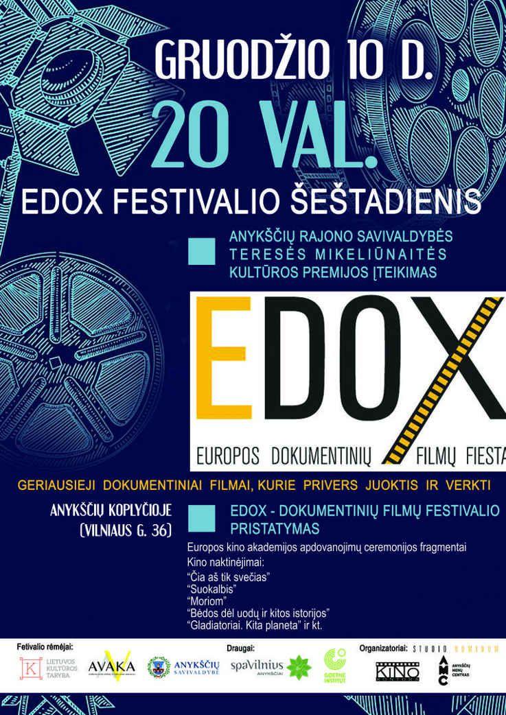 EDOX - dokumentinių filmų festivalio pristatymas. Teresės Mikeliūnaitės kultūros premijos įteikimas