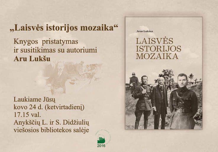 """Viešosios bibliotekos salėje Aro Lukšo knygos """"Laisvės istorijos mozaika"""" pristatymas"""