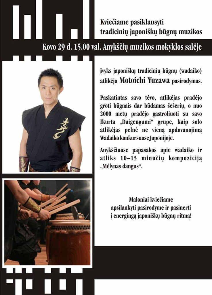 Japoniškų tradicinių būgnų (wadaiko) atlikėjo Motoichi Yuzawa pasirodymas