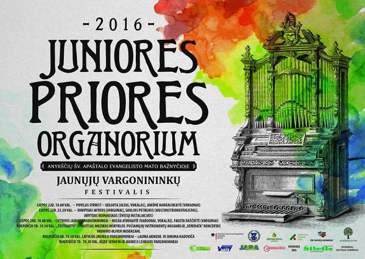 """Tarptautinis jaunųjų vargonininkų festivalis """"Juniores priores organorium"""" (2016) - Pirma diena"""