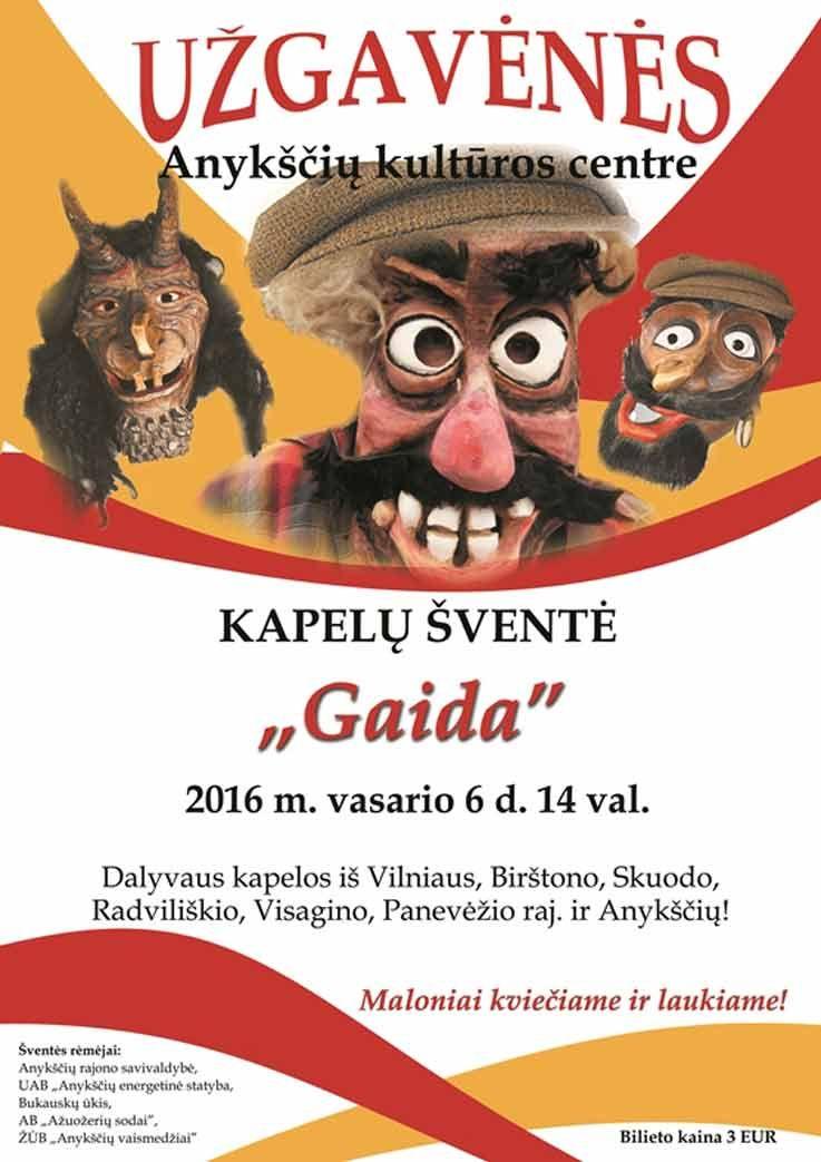 """Kapelų šventė """"Gaida"""" - užgavėnės Anykščių kultūros centre"""