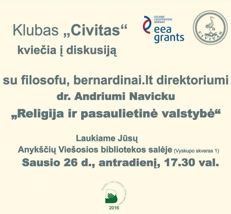 """Klubas """"Civitas"""" - susitikimas su dr. Andriumi Navicku """"Religija ir pasaulietinė valstybė"""""""