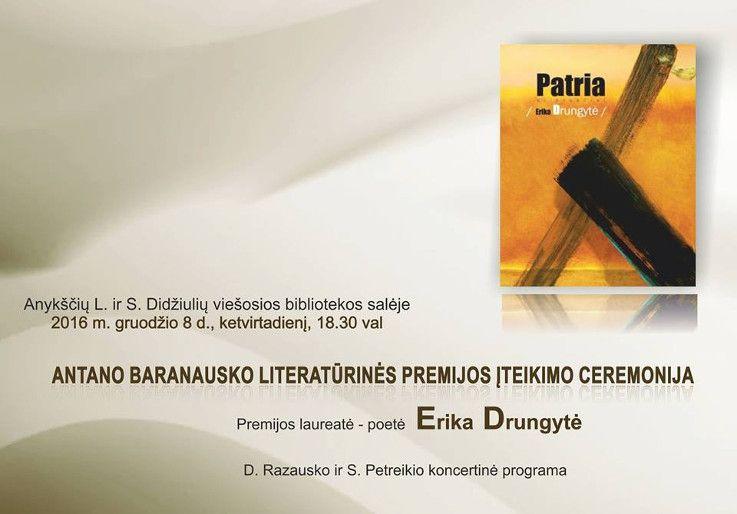 """Knygos šventė """"Tik širdis vis trokšta kurti"""" (2016) - PREMIJOS diena: A. Baranausko literatūrinės premijos įteikimo ceremonija"""