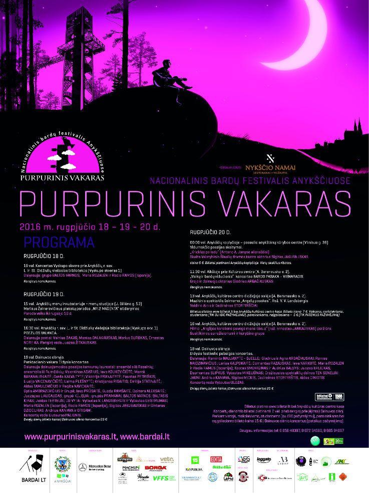 """Festivalis """"Purpurinis vakaras"""" (2016) - Vidurnakčio poezijos skaitymai. """"Krioklys po ledu"""""""