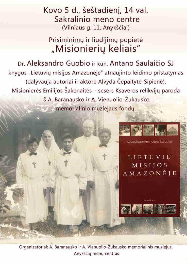 """Prisiminimų ir liudijimų popietė """"Misionierių keliais"""""""